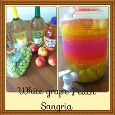 White grape Peach Sangria!!  An easy, and delicious summer drink.  All you need is: 1 bottle of your favorite white wine 1 cup of you favorite peach flavored vodka 2 cups of Welch's white grape peach juice Fresh sliced peaches Fresh white grapes Add ice and a cup of sugar for taste Stir, chill, and enjoy!
