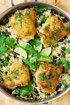 One-Pan Chicken Thighs with Cilantro-Lime Black Bean Rice - delicious, healthy, gluten free dinner! (One Pan Chicken Thighs) Healthy Chicken Thigh Recipes, Healthy Rice Recipes, Easy Chicken Dinner Recipes, Easy Meals, Cooking Recipes, Freezer Cooking, Cooking Tips, Freezer Recipes, Freezer Meals