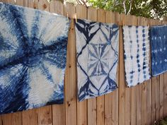 SHIBORI – Folk Fibers Blog. Includes directions for the pattern that is the second from the right.