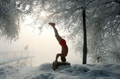 Jan. 17, 2013. 77-year-old retired teacher Gao Yinyu exercising in his underwear at a snow-covered bathing spot in Jilin, in northeastern China's Jilin province, in a temperature of minus 25 degrees Celsius.