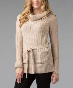 Take a look at this Oatmeal Textured Cowl Neck Sweater by Carol Rose on #zulily today!