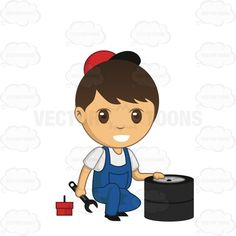 Mechanic Holding A Wrench With His Free Hand On Tires #auto #boy #car #greasemonkey #handy #handyman #male #man #mechanic #overalls #repairman #technician #tire #tool #toolbox #wrench