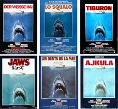 """Although the title of the """"Jaws"""" movie poster has been translated into numerous languages, the proximity of swimmer to shark needs no interp..."""
