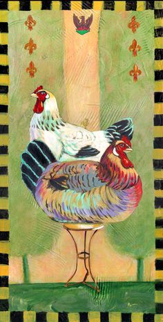 Meet the Colette hens! These regal hens pose on a iron table in the heart of the French countryside! Royal Chicken, Chicken Brands, Chicken Art, Unique Image, Pigment Ink, Paper Decorations, Hens, Art Reproductions, Original Artwork