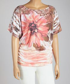 Look at this #zulilyfind! Pink & Brown Foliage Cape-Sleeve Top - Plus by Poliana Plus #zulilyfinds