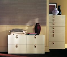 """Splendor"" Chest and Tallboy by Flou. Design by Rodolfo Dordoni. Cream lacquer finish. Dipped Gold or Black Nickel handles available. #livingroom #bedroom #HomeDecor #BedroomDecor #BedroomFurniture #Furniture #interiordesign #cassettiera"