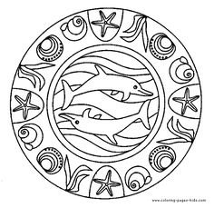Dolphin Mandala color page,  dolphins, animal coloring pages, color plate, coloring sheet,printable coloring picture