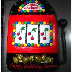Jackpot slot machine cake. made a 50th birthday card using this as a pattern.