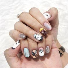 We bare bear nail 💋💅🏿 Cute Nail Art, Cute Nails, Pretty Nails, Nail Art Designs Videos, Nail Designs, Nails Ideias, Nail Courses, Manicure Gel, Valentine Nail Art
