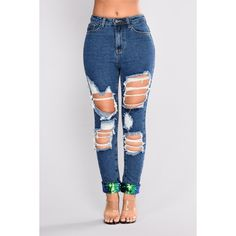 Put You On Game Sequin Jeans Medium Blue Wash ($75) ❤ liked on Polyvore featuring jeans, destructed jeans, high rise jeans, distressed jeans, destroyed jeans and cuffed jeans
