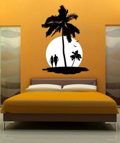 47 Pretty Painted Bedroom Wall Color Design Ideas That Will Inspire You - Gone were those days when people lived in houses with just white painted walls, regular bulbs, and marriage and family photos in standardized photo fr. Wall Stickers Home Decor, Home Decor Wall Art, Vinyl Wall Decals, Room Decor, Bedroom Stickers, Creative Wall Painting, Wall Painting Decor, Bedroom Wall Designs, Bedroom Wall Colors