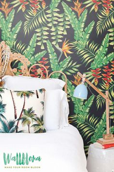 Heliconia Flower and Exotic Leaves Wallpaper | Removable Wallpaper | Palm Wall Sticker | Heliconia Flower Self Adhesive Wallpaper