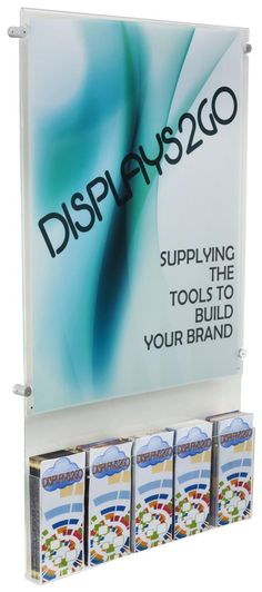22 x 28 Sign Holder for Wall, Standoff Hardware, Adjustable Brochure Pockets - Clear
