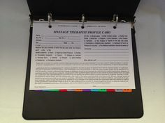 Massage Therapist Client Profile Binder with 100 profile cards, A - Z index, and a 3-year calendar