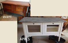 """Ce meuble """"bar"""" est transformé en ajourant les portes abattantes par un grillage."""