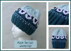 My hand knit hat with sheep motif. Easy pattern that works in the round found on Ravelry.