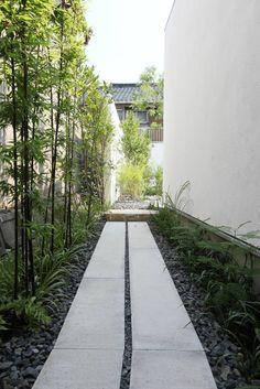 Sakurayama-Architect-Design 'House with the bath of bird' bamboo approach 桜山建築設計 バードバスのある家