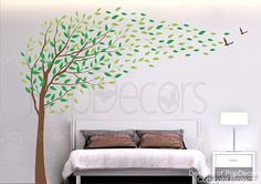 Items similar to Nature Tree Wall Decal Bedroom Tree Decals Branch Stickers Office Decors- Flying in the H) -Designed by Pop Decors on Etsy Wall Decals For Bedroom, Nursery Wall Stickers, Mural Wall Art, Kids Wall Decals, Vinyl Wall Art, Tree Decals, Boys Wallpaper, Wallpaper Murals, Tree Wall