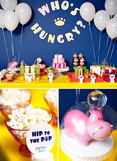 home party themes for every Zoo Animal! Here are some ideas for a Hungry Hungry Hippo themed birthday party for kids!Here are some ideas for a Hungry Hungry Hippo themed birthday party for kids! Animal Themed Birthday Party, Zoo Birthday, Boy Birthday Parties, Birthday Ideas, Kid Parties, Happy Birthday, Party Animals, Animal Party, Safari Party