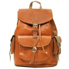 New   Leather Backpacks   Rucksacks   Satchels   My Green Bag ($135) ❤ liked on Polyvore featuring bags, backpacks, genuine leather backpack, orange backpack, satchel handbags, vintage leather satchel and leather backpack