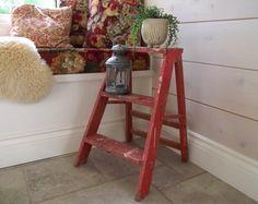 Vintage Step Ladder / Wood Stool / Farmhouse Cottage by gazaboo