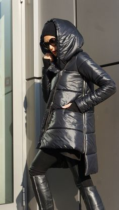 NEW Winter 2016 Asymmetric Quilted Black Hooded Extra Warm Coat Waterproof and Windproof Extravagant Jacket Side Pockets by Aakasha