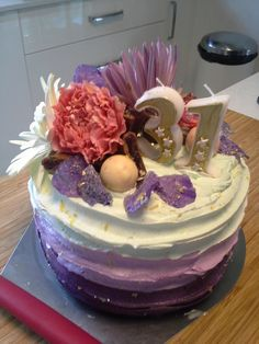 Blackberry and vanilla bean birthday cake with fresh flowers, Turkish Delight and Lindt strawberry chocolates.