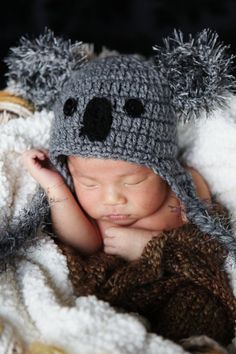 PHOTO Prop Newborn Baby Boy Crochet Koala Hat
