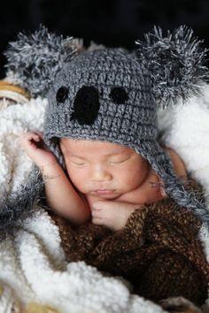 PHOTO Prop Newborn Baby Boy Crochet Koala Hat