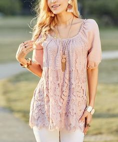 This Dusty Rose Lace Convertible Off-Shoulder Tunic - Plus Too is perfect! #zulilyfinds