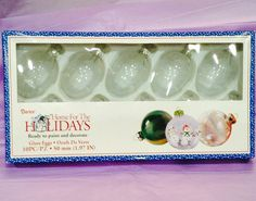 Clear Glass Egg Shaped Ornaments, One Box Set Of 10 by SpecialOrnaments on Etsy