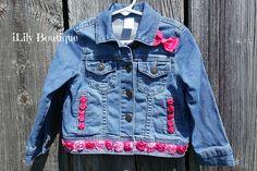 Items similar to Denim Jacket Denim Vest Jean Vest Jean Jacket Toddler/Baby/Girls Pink Roses Decorated on Etsy Jean Jacket For Girls, Jean Vest, Denim Jackets, Jean Jackets, Cute Toddlers, Girl Decor, Upcycled Clothing, Sewing For Kids, Repurpose