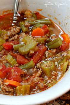 Vegetable Beef Soup. Replace groubd beef with venison or ground turkey burger.