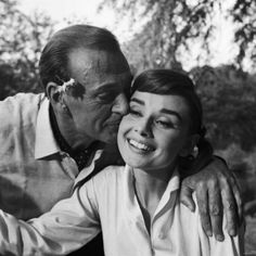 Gary Cooper and Audrey Hepburn Making the film Love in the Afternoon in 1956