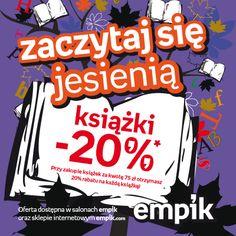 """Promocja """"Zaczytaj się jesienią"""" to 20% rabatu na wszystkie książki dostępne w Empiku i na www.empik.com"""