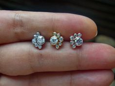 AAA CZ diamond cluster push in 16g bio flexible tragus / cartilage / conch ear piercing (1pc) by PiercingRoomByJay on Etsy
