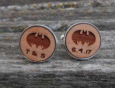 Custom Bat Cufflinks. CHOOSE YOUR COLOR. Anniversary, Unique Birthday Gift, Groomsmen Gift, Christmas. Laser Engraved Wood, Personalized by JustCyndy on Etsy First Anniversary, Anniversary Gifts, Bat Symbol, Bride And Groom Gifts, Unique Birthday Gifts, Groomsman Gifts, Laser Engraving, Groomsmen, Wedding Stuff