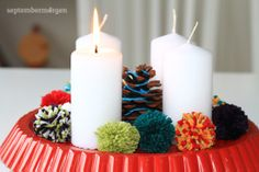 Adventskranz: Backform, Bommel / Pom Pom, Zapfen, Wolle