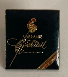 Sobranie Cocktail Cigarettes Vintage Enamel Lapel Pin Black with Gold Lettering Cigarette Brands, Cigarette Box, Black Russian, Butterfly Gold, Cute Room Decor, Gold Letters, Game Pieces, Hat Pins, Lapel Pins
