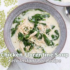 This creamy Chicken Florentine Soup Instant Pot Recipe is easy and Keto friendly!