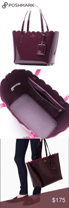 Kate Spade Lily Avenue Carrigan Handbag Shiny patent leather, gold hardware, outside color is burgundy-ish & inside is hot pink, has inside zipper pocket. Dust bag included. Bag comes with a luggage tag with mirror. Its huge! It's like an LV never full, it fits so much stuff. Great for people who keep their whole lives in their bags- like me! In great condition. Only used a few times. Very minor marks on front of bag & bottom of bag- barely noticeable. See pic 4 for flaws. It's an 8/10…