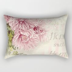 #homesweethome #watercolor #vintage #drawing #painting #pink #flowers #floral #girly #pretty #nature available in different #homedecor products. Check more at society6.com/julianarw #pillow