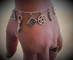 Pagan Protection Occult Supernatural Powers Aluminum Leather Bracelet Wiccan Engraved Bracelet