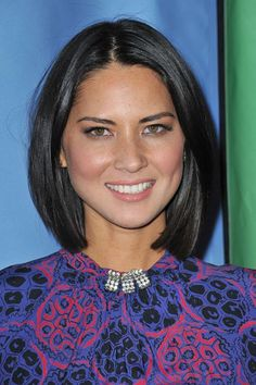 Not too long and not too short, Olivia Munn's long, straight bob hits well past… 2015 Hairstyles, Long Bob Hairstyles, Hairstyles For Round Faces, Short Hairstyles For Women, Trendy Hairstyles, Hairstyle Short, Braided Hairstyles, Short Hair Styles For Round Faces, Short Hair Cuts