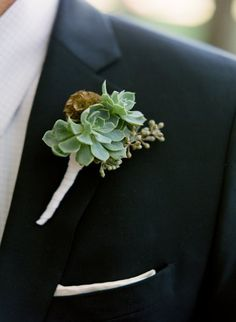 Boutonnieres for the Boys, Wedding Flowers Photos by Rosehip Flora    OOO!!  This is interesting... I've never seen succulent ones before.