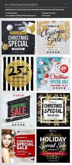 Buy Christmas Banners by madridnyc on GraphicRiver. This Christmas season and Christmas holidays promote your business with this package of exclusive Christmas sale bann. Winter Banner, Holiday Banner, Christmas Banners, Christmas Sale, Christmas Themes, Christmas Holidays, Christmas Decorations, Christmas Graphic Design, New Year Banner