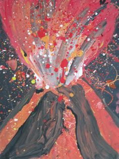 IMG_0083  I really like this idea of presenting the lava in paint spatters. I think the abstractness allows focus on the vibrant colours of the paint.