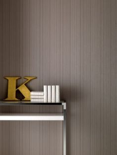 Linear Paste the Wall Wallpaper in Taupe by Kelly Hoppen for Graham & Brown