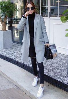 Korean winter outfits · [miamasvin] single breasted coat with slim lapel Korean Winter Outfits, Korean Fashion Winter, Korean Fashion Trends, Korean Street Fashion, Korea Fashion, Korean Outfits, Fall Winter Outfits, Asian Fashion, Trendy Fashion