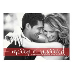Red Merry and Married Script Holiday Photo Card Personalized Announcements for wedding newly weds or just married couple